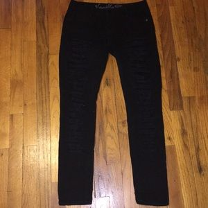 black very distressed jeans